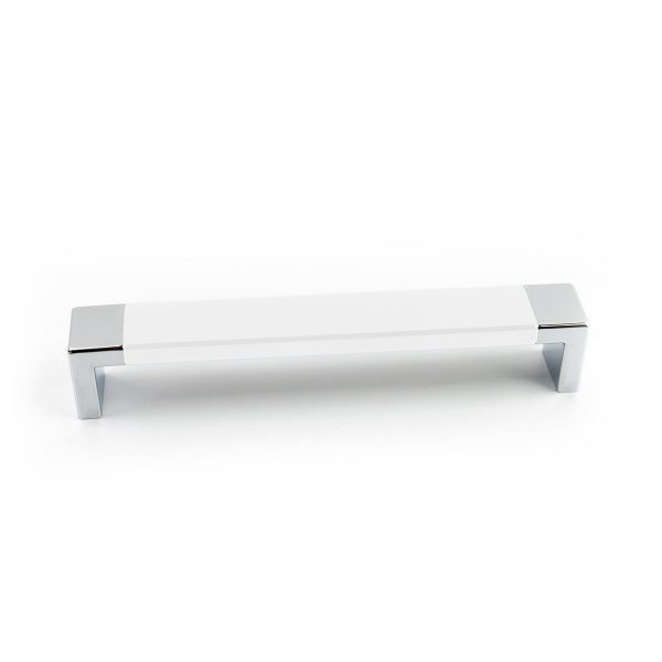 Futuristic White Chrome Rectangular Pull