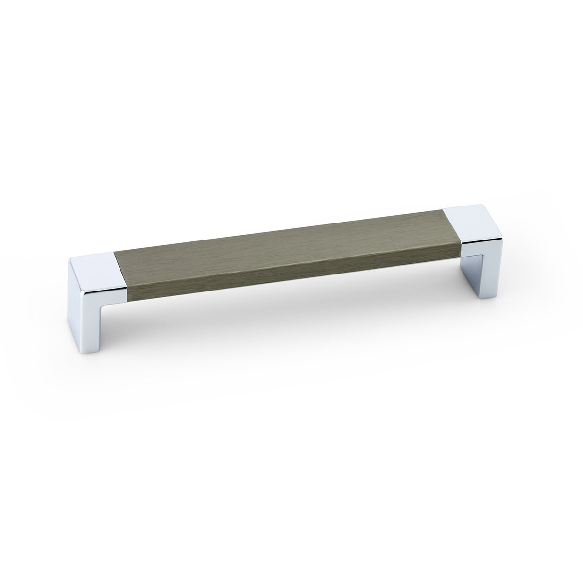 Futuristic Wood Chrome Rectangular Pull